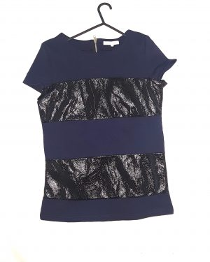 Blue Black Leather Top