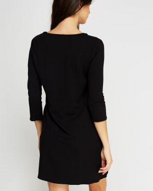 Detailed Textured Black Dress