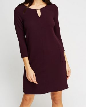 Detailed Textured Plum Dress