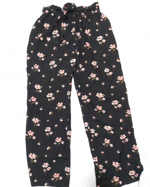 Floral Printed Elasticated Waist Flare Belted Lightweight Trousers