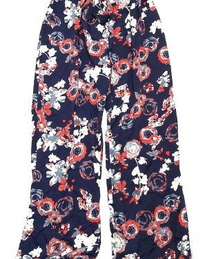 Flared Floral Printed Belted Trousers