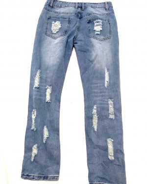Women Blue Cutout Distressed Bleach Wash Ripped Jeans Mom Jeans