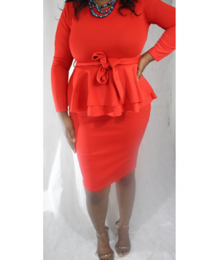 I'M IN CHARGE DRESS – Peplum Belted Long Sleeve Dress