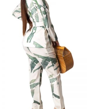 THE LEAF PRINT SET – JACKET AND PANTS TWO PIECE SET