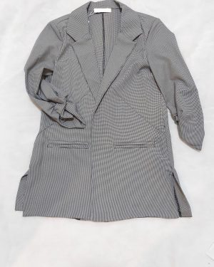 Women's Houndstooth Check Blazer Coat Jacket