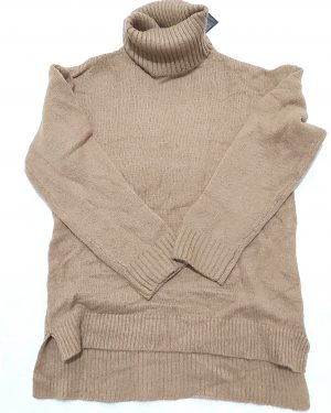 Brown Chunky Oversized Roll Neck Jumper Womens