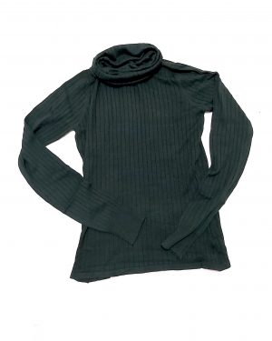 Green Stretchy Roll Polo Neck Jumper Womens