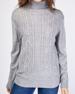 Grey Chunky Roll Neck Jumper Womens