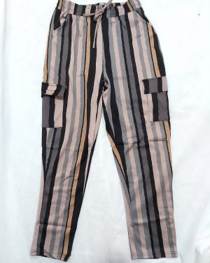 Striped High Waist Tapered Straight Leg Work Womens Trousers