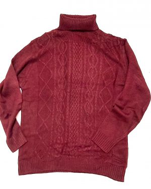 Wine Chunky Roll Neck Jumper Womens